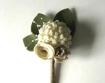 Felt flower bridal groom buttonhole corsage - rustic wedding ivory and cream
