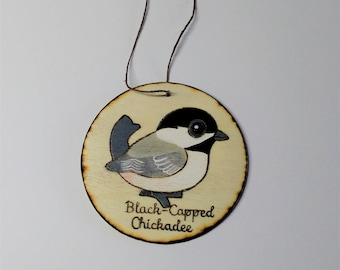 Black Capped Chickadee Wood Burned Ornament
