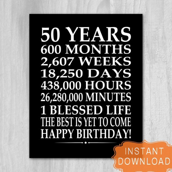 Magic image inside 50th birthday signs printable