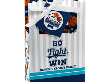 Go, Fight, Win - Sports - Favor Boxes - Custom Birthday Party and Baby Shower Supplies - Sports Party Theme Favor Boxes - Set of 12
