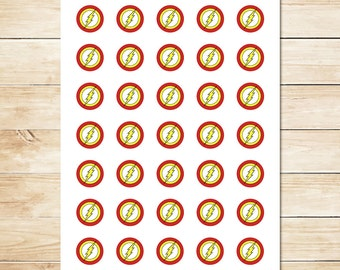 The Flash Sticker / The Flash Inchies / The Flash Party Favor / The Flash Party / Superhero Party / The Flash Birthday 1 Inch Circles