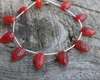 Carved Red Orange Carnelian   Top Drilled Leaf Briolettes   ~11.9x7.25mm   Sold in Matched Pairs