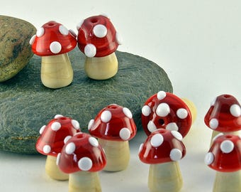 TOADSTOOL lampwork glass  charm sized beads -made to order beads - from Izzybeads SRA UK