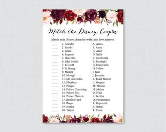 Marsala Floral Disney Couples Match Game - Printable Rustic Pink Flower Bridal Shower Famous Couples Match Game - Flower Wedding Shower 0033