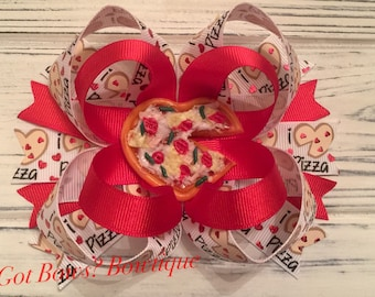 I Love Pizza Stacked Boutique Bow