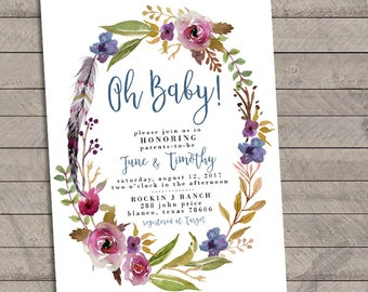 Boho Chic Floral Baby Shower Invitations, circle, wreath, flowers, digital, prints