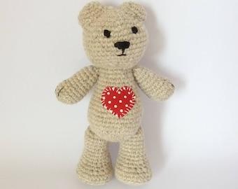 Plush teddy bear heart for the child's room