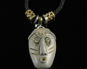 African Mask Talisman Pendant, Ethnic Tribal Mask Statement Necklace, Ethnic Jewelry, Unisex Pendant, Unique Jewelry Unisex Birthday Gift