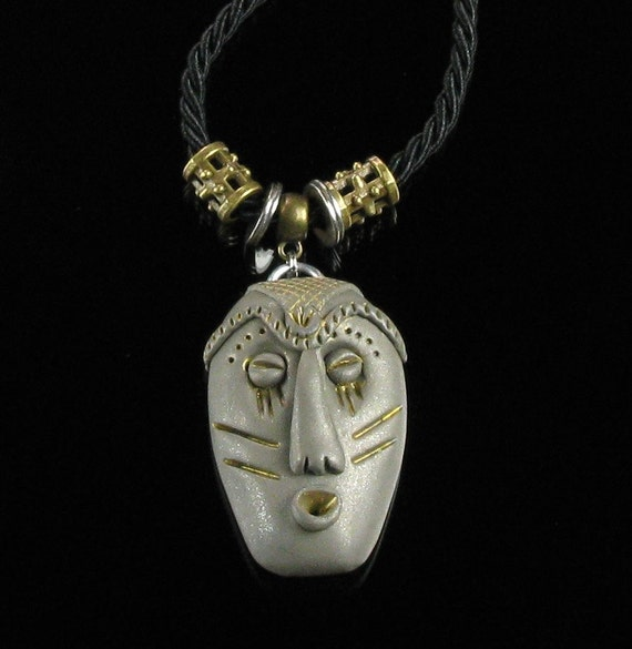 African Mask Talisman Pendant, Ethnic Tribal Mask Statement Necklace, Ethnic Jewelry, Unisex Pendant, Unique Jewelry Unisex Birthday Gift