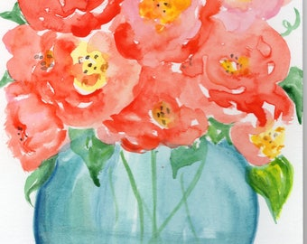 Cabbage Roses, original watercolor painting,  aqua glass jar, 5 x 7 small floral rose painting, flower painting