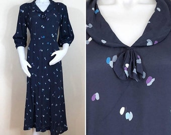 30% Off Sale 80s does 30s Navy Blue Dot 3/4 Sleeve Midi Dress, AS-IS, Size Medium