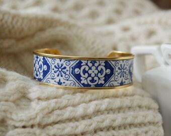 Women's Preppy Cuff Bracelet - Royal Tile