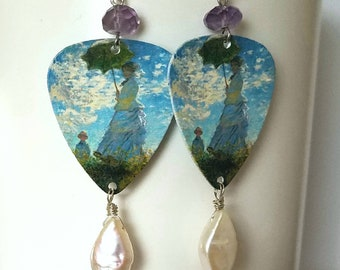 "Monet ""Woman with a Parasol"" Guitar Pick Earrings with Amethyst & Freshwater Pearl - Sterling Silver - Wearable Art - Mother's Day Gift"