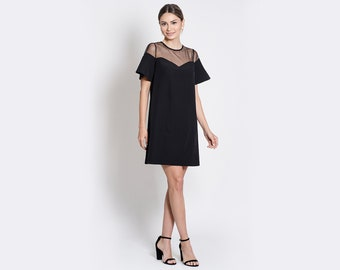 Margaret Black Mini Dress with Ruffled Sleeves