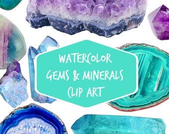Gemstone Digital clip art 29 watercolor gems minerals agate slices clipart quartz crystal clip art amethyst crystal point gemstones minerals