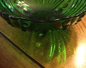 Vintage Emerald Green Glass Bowl