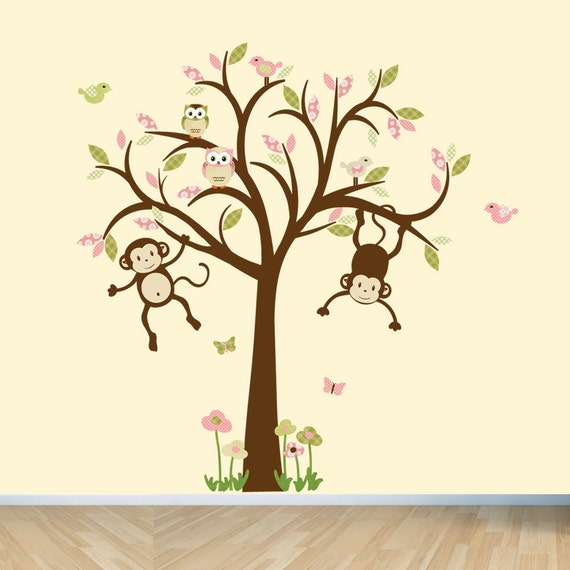 sc 1 st  Etsy & Monkey Wall Decals Nursery Wall Decals Girl Tree Wall Decal