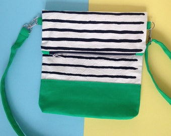 Screenprint Colour block Folding Crossbody bag - Striped pattern - Green