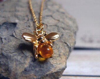 Sweet as can Bee, Gold Plated Honey Bee Necklace