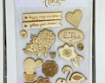My Mind's Eye On Trend 2 Wood Veneer Pieces by Jen Allyson, perfect for planners, card making, scrapbooking, art journaling, embellishment