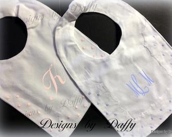 Monogrammed Bib - Dressy Linen Swiss Dot