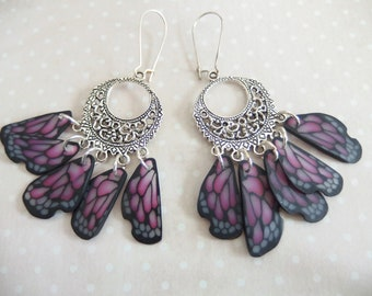 Earrings creole print in the wings of butterfly jewelry spirit Native American version 2