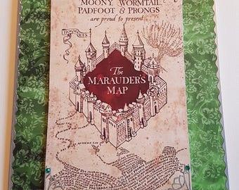 Handmade Harry Potter Inspired The Marauders Map Birthday Card   - Green & Silver (S)