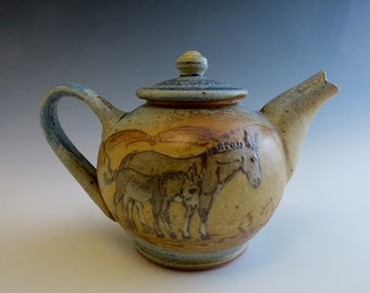 Sm Teapot- Donkey Jennies & Foals in a Mountains