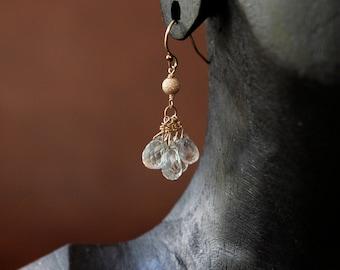 Mint Green Amethyst Earrings, Gold