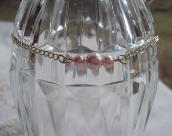 Pink Pearl Anklet on Silver Chain