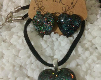 Glitter Heart Necklace & Earrings