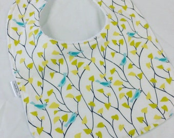 Blue Birds - Infant or Toddler Bib - Terry Cloth Backing - Reversible with ADJUSTABLE Snaps
