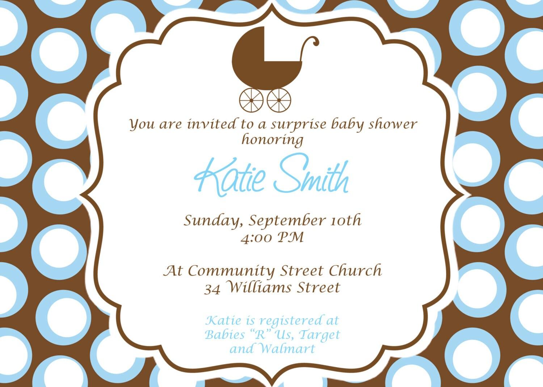 Baby Boy Baby Shower Invitation. Custom Printable Baby shower
