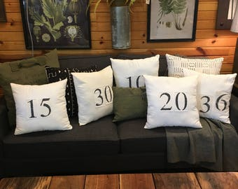 vintage number pillows // salvaged feed sack // stencils numbers // number patches // salvaged grain sack