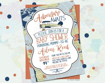 Adventure awaits baby shower invitation, world baby shower invitation, boy baby shower invitation, Airplane, Printable Invitation