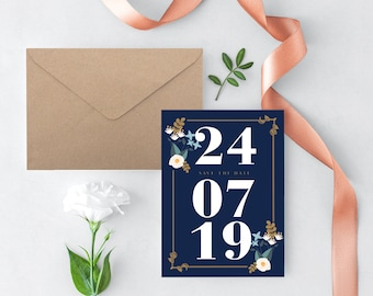 Navy Save Date Template, Blue Save Date, Save Date Printable, Save Date Postcard, Save Date Card, Save Date Template, Wedding Template