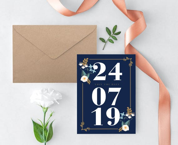 Navy Save Date Template Blue Save Date Save Date Printable