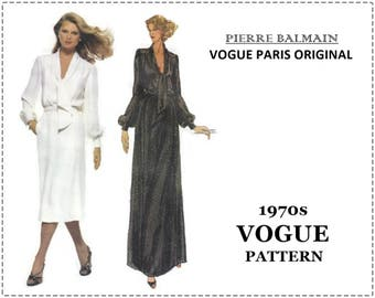 1970s Pierre Balmain Pattern - Vogue 1857 Sewing Pattern - Misses Dress, Blouson, Tie - Size 10 Bust 32 - English & French Instructions