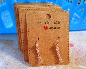 Earring cards Handmade with Love Red hearts Kraft paper Earring display cards Jewelry display Packaging Hang tags Jewelry cards Supplies