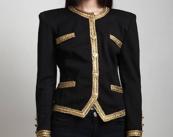 vintage 80s evening jacket black gold trim statement shoulders long sleeves SMALL MEDIUM S M
