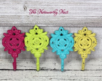ANY COLOR Wall hook / bright hook / aqua hook / pink hook / lime green hook / purple hook / coral hook / yellow hook / key hook / small hook