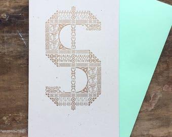 Dollar Sign letterpress card