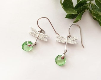 Dragonfly Earrings, Insect Jewelry, Green Crystal Drops, Insect Earrings, Nature Jewelry, Silver Dragonfly Earrings, Dainty Everyday Jewelry