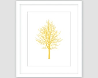 Chestnut Tree, Mustard Yellow & White Print, Winter Wall Art, Botanical Silhouette, Modern Art, Instant Download, DIY, Printable