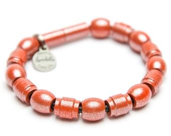 SALE | Color of the Month | Cosmic Coral Full Bead Leather Magnetic Landella Bracelet