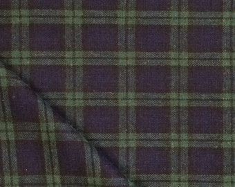 Wool Fabric / Green and Navy Plaid Wool / Green Plaid Wool Fabric / Wool Blend Fabric / Blue Plaid Wool Fabric / Wool Polyester Fabric