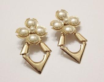 Large Gold Flower Earrings, Pearl Gold Earrings, 1980's Jewelry