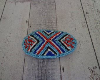 Vintage Beaded Southwest-Inspired Hair Barrette or Clip in Light Blue Red Navy Black and White