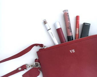 Monogram Clutch - Personalized Clutch - Monogram Cosmetic Bag - Makeup Bag - Wristlets Clutch - Personalized gift for her (Red Saffiano)