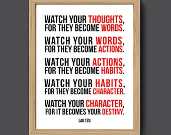 Watch Your Thoughts Lao Tzu Quotes Prints | Lao Ce Quotes Printable, Taoism Sayings, Office Decor, Office Art, Home Decor, Wisdom Print